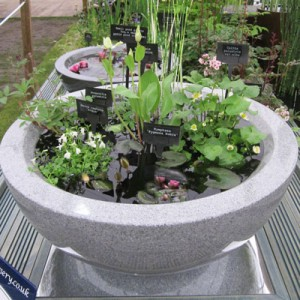 Granite effect fibreglass container pond planted for sun